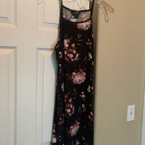 Black spaghetti strap floral dress